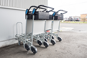 A cart for carrying large baggage is only available in the office.