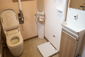 A changing table and an easily accessible bathroom are available.