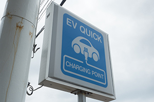 The office also has a charging station for EVs.