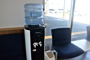There is a free water dispenser available.
