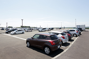Rental cars are available in the spacious parking lot.
